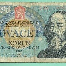 Billetes extranjeros: BILLETE CHECOSLOVAQUIA. 20 KORUN 1988. Lote 179118348
