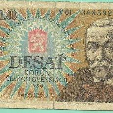 Billetes extranjeros: BILLETE CHECOSLOVAQUIA. 10 KORUN 1986. Lote 179118455