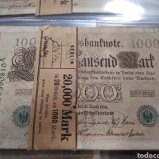 Billetes extranjeros: FAJO DE 20 BILLETES DE 1000 MARCOS ALEMANIA AÑO 1910. Lote 179338667