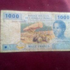 Billetes extranjeros: ESTADOS AFRICA CENTRAL CAMERUN 1000 FRANCS 2002. LETRA U. Lote 179534987