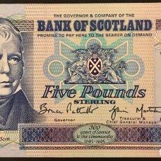 Billetes extranjeros: BILLETE DE ESCOCÍA FIVE POUNDS DE 1996. SC.. Lote 179944862