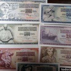 Billetes extranjeros: 7 BILLETES EN PLANCHA NUEVOS DE JUGOSLAVIA LOT. I 21. Lote 180183715