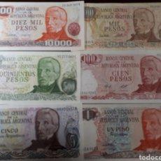 Billetes extranjeros: 6 BILLETES DE ARGENTINA 4 DE ELLOS EN PLANCHA NUEVOS LOT. I 23. Lote 180185011