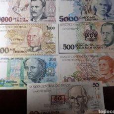 Billetes extranjeros: 7 BILLETES DE BRASIL NUEVOS EN PLANCHA LOTE I 27. Lote 180186468
