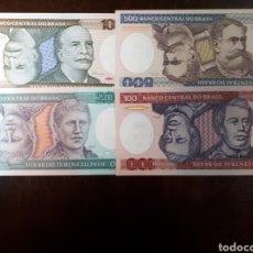 Billetes extranjeros: 4 BILLETES DE BRASIL NUEVOS EN PLANCHA LOTE I 28. Lote 180186675