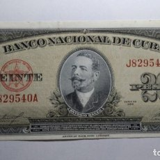 Billetes extranjeros: BILLETE CUBA - 20 PESOS - ANTONIO MACEO - 1958. S/C. PLANCHA. Lote 180233543