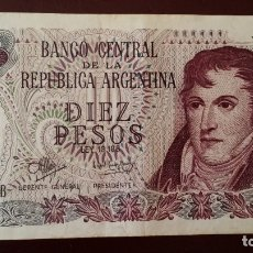 Billetes extranjeros: 10 PESOS ARGENTINOS BANCO CENTRAL REPUBLICA ARGENTINA GENERAL BELGRANO. Lote 180255002