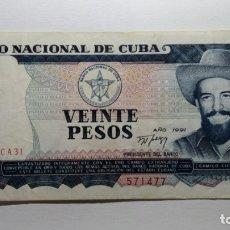 Billetes extranjeros: BILLETE CUBA - 20 PESOS .CAMILO CIENFUEGOS 1991. MBC+. Lote 180257211