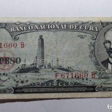 Billetes extranjeros: BILLETE CUBA. UN PESO - JOSE MARTI - 1956. EBC+. Lote 180277392