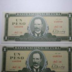 Billetes extranjeros: TRES BILLETES CORRELATIVOS CUBA 1 PESO 1981 . S/C. PLANCHA. Lote 180897347