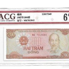 Billetes extranjeros: 1987 VIET NAM 200 DONG, CERTIFICADO ACG 67 EPQ. Lote 180987045