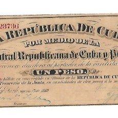 Billetes extranjeros: BILLETE. 1 PESO. REPUBLICA DE CUBA. 1869. JUNTA CENTRAL REPUBLICANA DE CUBA Y PUERTO RICO. Lote 181465171