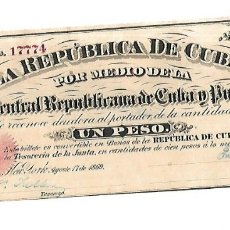 Billetes extranjeros: BILLETE. 1 PESO. REPUBLICA DE CUBA. 1869. JUNTA CENTRAL REPUBLICANA DE CUBA Y PUERTO RICO. Lote 181465195