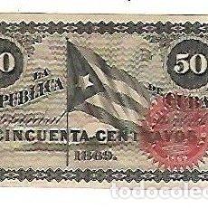 Billetes extranjeros: BILLETE. LA REPUBLICA DE CUBA. 50 CENTAVOS. 1869. VER. EL DE LA FOTO. Lote 181469015