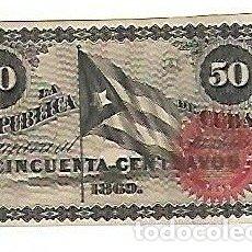 Billetes extranjeros: BILLETE. LA REPUBLICA DE CUBA. 50 CENTAVOS. 1869. VER. EL DE LA FOTO. Lote 181471068