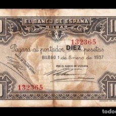 Notas Internacionais: ESPAÑA SPAIN GUERRA CIVIL 10 PESETAS BILBAO 1937 PICK S562F BANCO DE VIZCAYA BC F. Lote 181773192