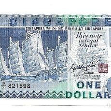Billetes extranjeros: SINGAPUR 1 DOLLAR 1987. PICK 18A. SIN CIRCULAR. Lote 181940231