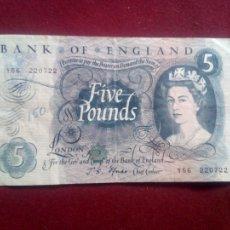 Billetes extranjeros: REINO UNIDO. BANK OF ENGLAND. 5 POUNDS. 1960-1964. Lote 182019137