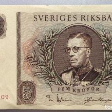 Billetes extranjeros: SUECIA. 5 CORONAS 1956. Lote 182538857