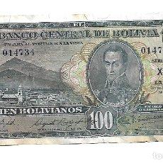 Billetes extranjeros: BOLIVIA 100 BOLIVIANOS 1928 PICK 133. Lote 182688346