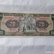 Billetes extranjeros: BILLETE DE ECUADOR DE 20 SUCRES DEL AÑO 1980, SIN CIRCULAR VER FOTOS . Lote 182832541