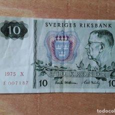 Billetes extranjeros: BILLETE DE 10 CORONAS DE SUECIA, DEL AÑO 1975. Lote 182833493