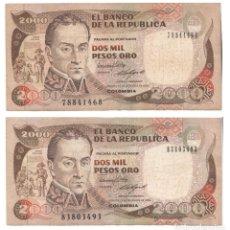 Billetes extranjeros: LOTE 2 BILLETES DE 2000 PESOS ORO COLOMBIA. Lote 182910743