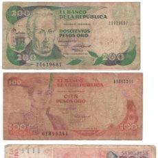 Billetes extranjeros: LOTE X3 200 Y 100 PESOS DE ORO COLOMBIA, 100 AUSTRALES ARGENTINOS BILLETES. Lote 182911591