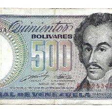 Billetes extranjeros: VENEZUELA 500 BOLIVARES 1990. Lote 182965436