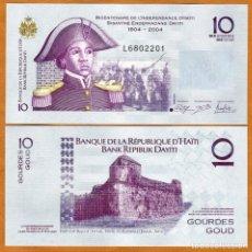 Billetes extranjeros: HAITI - 10 GOURDES (BICENTENARIO DE LA INDEPENDENCIA 1804-2004) - AÑO 2016 - S/C. Lote 183342636