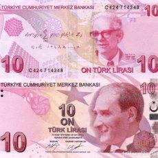 Billetes extranjeros: TURKEY, 10 TURKISH LIRA, 2017, P223, SERIES C, UNC. Lote 183343325