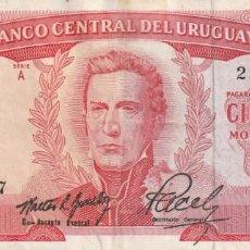 Billetes extranjeros: URUGUAY 100 PESOS 1967. Lote 183368642