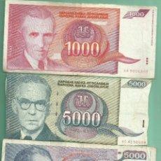 Billetes extranjeros: YUGOSLAVIA. 3 BILLETES DE DINARA 1000, Y 5000 DINARA (DOS MODELOS). Lote 183396712