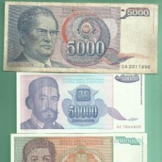 Billetes extranjeros: YUGOSLAVIA. 3 BILLETES DE DINARA 5000, 50000 Y 5000000 DE DINARA. Lote 183397175