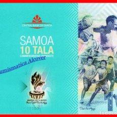 Billetes extranjeros: FOLDER SAMOA 10 TALA 2019 CONMEMORATIVO JUEGOS DEL PACÍFICO SC . Lote 183474613