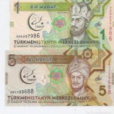 Billetes extranjeros: TURKMENISTAN SET X 2 1 5 MANAT 2017 SC / UNC . Lote 183585508
