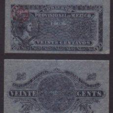 Billetes extranjeros: BILLETE MEJICO (REVOLUCION) - 20 CENTAVOS - 1914 - SIN CIRCULAR. Lote 183703966