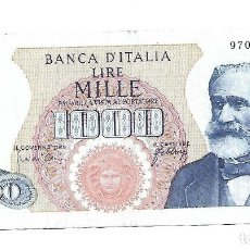 Billetes extranjeros: ITALIA 1.000 LIRAS 1965 PICK 96D. Lote 183830183