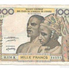 Billetes extranjeros: ESTADOS DEL AFRICA OCCIDENTAL (K SENEGAL) 1000 FRANCS 1965 PICK 703KM . Lote 183832238