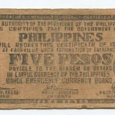 Billetes extranjeros: FILIPINAS. BILLETE DE 5 PESOS 1942. Lote 183839706