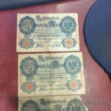 Billetes extranjeros: LOTE DE 3 BILLETES ALEMANIA 20 MARCOS AÑO 1914. Lote 183878508