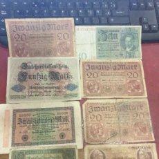Billetes extranjeros: LOTE 8 BILLETES ALEMANIA AÑOS 20 . Lote 183878607