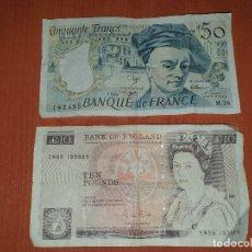 Billetes extranjeros: BILLETE DE TEN POUNDS INGLES Y DE 50 FRANCS FRANCES, USADOS PERO BIEN. Lote 183879370