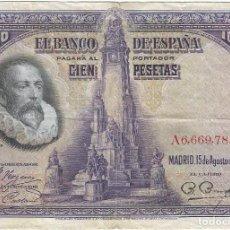 Billetes extranjeros: ESPAÑA - SPAIN 100 PESETAS 15-8-1928 PK 76 A PEIRÓ 62 SERIE A. Lote 184148626