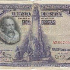 Billetes extranjeros: ESPAÑA - SPAIN 100 PESETAS 15-8-1928 PK 76 A PEIRÓ 62 SERIE A. Lote 184148817