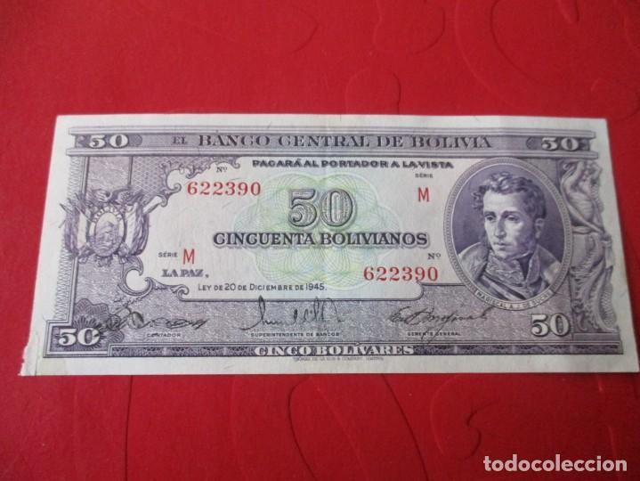 BOLIVIA. BILLETE DE 50 BOLIVIANOS. 1945 (Numismática - Notafilia - Billetes Extranjeros)