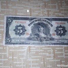 Billetes extranjeros: BILLETE DE 5 PESOS DE MÉXICO DEL AÑO 1963,CIRCULADO . Lote 184488527