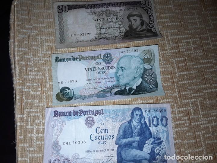 3 BILLETES DE PORTUGAL, DE 20Y100 ESCUDOS DE ORO ,AÑOS 64,78Y85,CIRCULADO (Numismática - Notafilia - Billetes Extranjeros)
