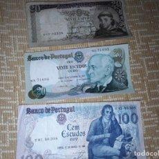 Billetes extranjeros: 3 BILLETES DE PORTUGAL, DE 20Y100 ESCUDOS DE ORO ,AÑOS 64,78Y85,CIRCULADO . Lote 184892841