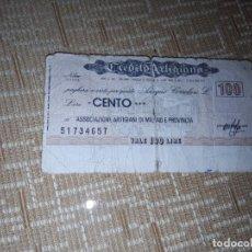 Billetes extranjeros: BILLETE DE 100LIRAS DE MILÁN DEL AÑO 1976,CIRCULADO . Lote 184893603